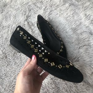 Tory Burch Black Suede Kingsbridge Studded Flats